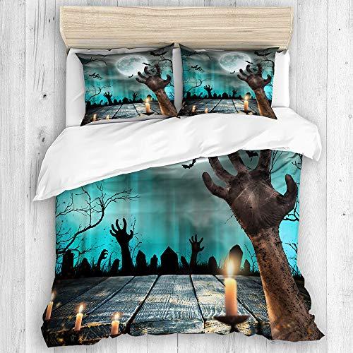 Minalo Bedding Juego de Funda de Edredón,Apocalipsis Azul Spooky Halloween Viejos árboles Siluetas y Zombie Mano Naranja,Microfibra SIN Relleno,(Cama 140x200 + Almohada)