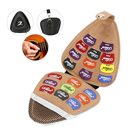 Caja de púas de guitarra, Maxjaa Funda de cuero de PU con soporte para púas de guitarra con 20 piezas de varios espesores de colores púas 0,58 mm / 0,71 mm / 0,81 mm / 0,96 mm / 1,2 mm / 1,5 mm