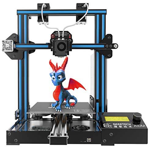 Geetech A10M - Impresora 3D con soporte de dos colores, doble extrusora, reanudación del trabajo en caso de fallo eléctrico, con área de impresión 220 x 220 x 260 mm