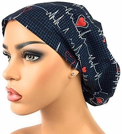 DK Scrub Hats Women s Adjustable Bouffant Scrub Hat Ponytail Navy Blue Surgical  Cap Heartbeat EKG 3376b5d1ab4b