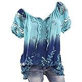 iHENGH Damen Kurzarm V-Ausschnitt Spitze Bedruckte Spitze Tops Loose T-Shirt Bluse Tops(Blau, 2XL)
