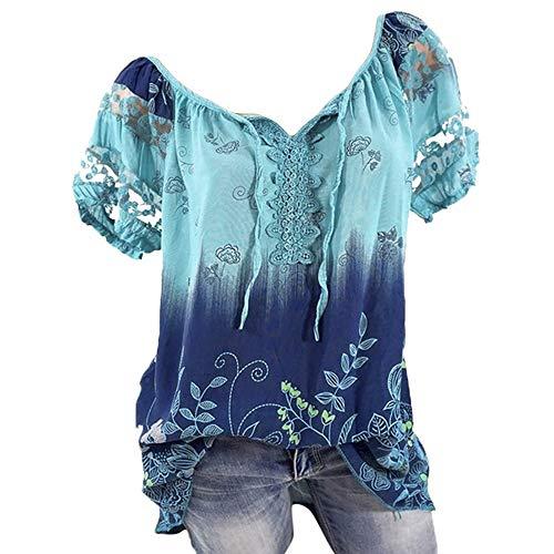 Momoxi Damen Sommer Casual Blumendruck Bluse Kurzarm Loose Top Shirt Tee Chiffon Bluse Blouse Print Oberteil Lady-fit Tank Tops Orange XL