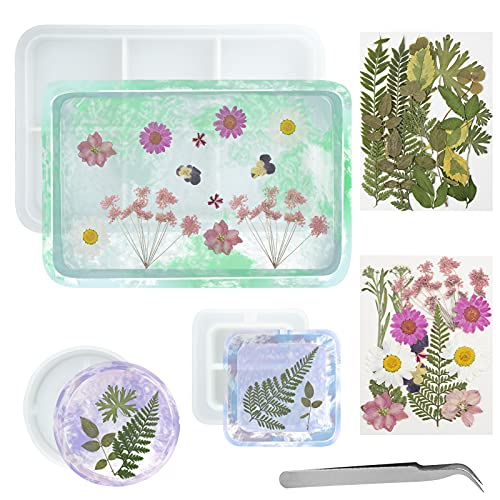 EsLuker.ly - Stampo per posacenere in resina, 3 pezzi, in silicone, con vassoio grande, quadrato e rotondo, con 2 tipi di fiori secchi per fusioni in resina epossidica, decorazione per la casa