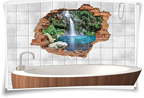 Medianlux Fliesenaufkleber Fliesenbild Aufkleber Sticker Wanddurchbruch Natur Klippen Wasserfall See, 105x70cm, 20x25cm (BxH)