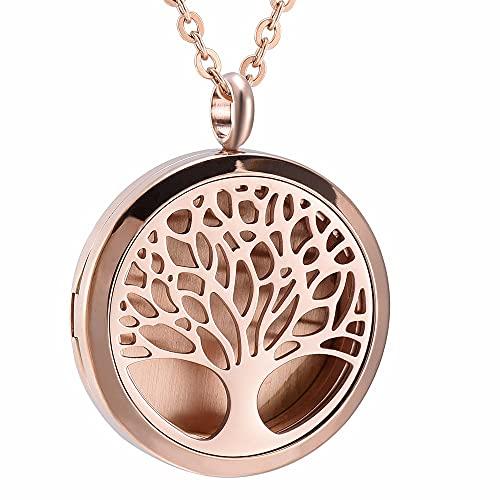 QFV Collar difusor de aromaterapia de aceites Esenciales de árbol de la Vida Collar de difusor de Perfume de Acero Inoxidable Colgante de medallón