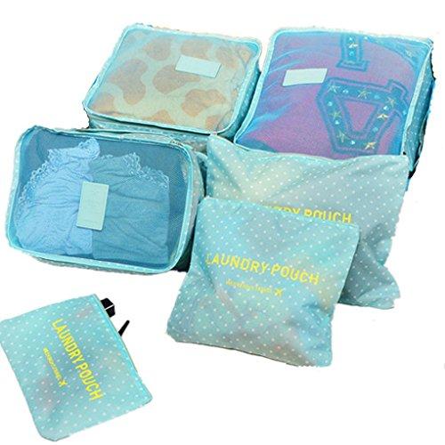 6-en-1 Set de Organizador de Equipaje, Impermeable Organizador de Maleta Bolsa para Ropa Sucia de Viaje, Material Nylon-Azul de cielo