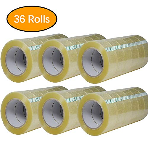 Packing Tape-110 Yards Per Roll (36 Rolls) 2 Inch with Wide Stronger and Thicker 2.7mil, Clear Packing Tape for Moving Packaging Shipping,Office or shiping-Storage-Tape-Packing-Refill-Shipping