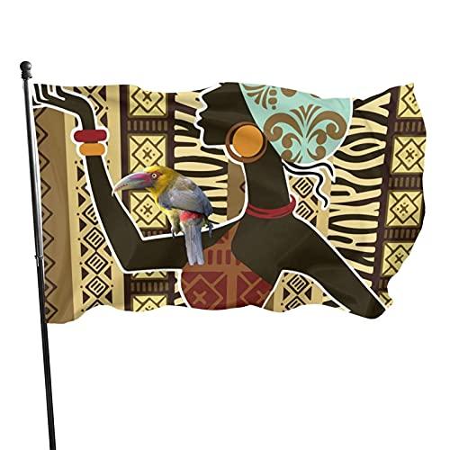 Bandera de jardín de mujer y tucán dorado Bandera de interior al aire libre 3 x 5 pies, banderas de playa duraderas y resistentes a la decoloración con encabezado, fácil de usar