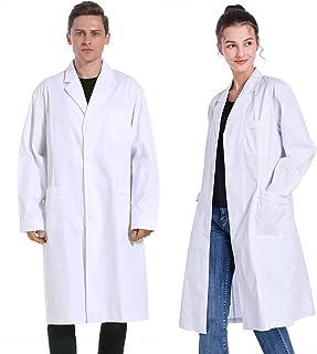 【RAINLANE】白衣 男性 女性用 実験衣 研究用白衣 ドクターコート ノンアイロン 柔らかい生地 メンズ レディース 長袖 ホワイト S-XXXL (L, 女性)