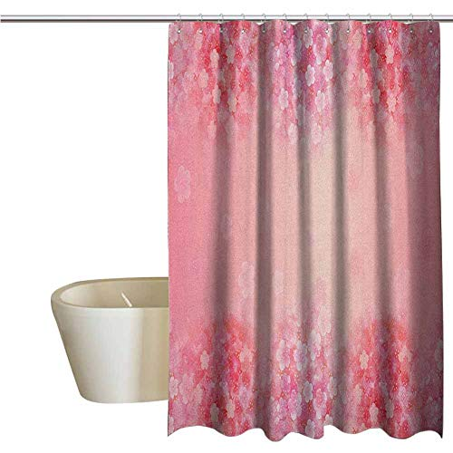 Light Pink Funny Shower Curtain Plum Blossom Botany Beauty Natural Spring Flowers Seasonal Background Print Fabric Shower Curtains for Bathroom W70 x L78 Inch Coral Ruby