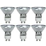 Sunlite 40722-SU 6-Pack Halogen MR16 Reflector Light Bulb, 20 Watts, 100 Lumens, Twist & Lock GU10 Base, 120 Volt, Dimmable, 32K - Warm White