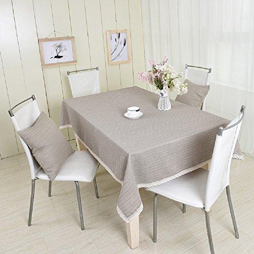 LD&P Elegant katoen en vlas grijze salontafel eettafel tafelkleed kant stofdichte desktop decoratie bar partij picknick tafelkleed