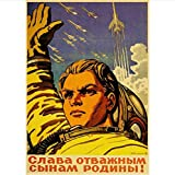 H/H Vintage Poster Russische Propaganda Space Race Poster