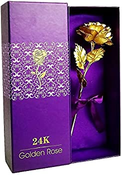 LOVEINUSA 24k Golden Rose Flower with Luxury Gift Box