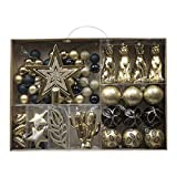 Valery Madelyn 70ct Golden Tropical Party Shatterproof Christmas Ball Ornaments Decoration Black and Gold, Christmas Tree Ornaments Decoration
