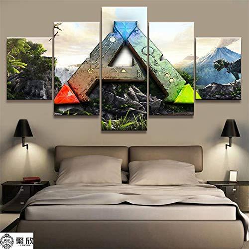 AMOHart Leinwanddrucke 5 Stück ARK: Survival Evolved Logo Spiel Malerei Wohnzimmer Wandkunst Dekor Artworks Poster Drucke auf Leinwand Rahmen