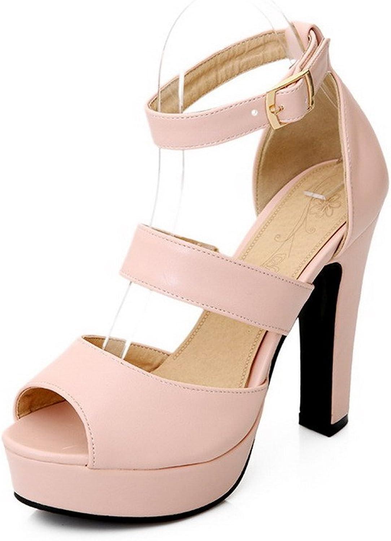 WeenFashion Women's Buckle Peep Toe High-Heels PU Solid Heeled-Sandals