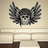 jiuyaomai Cráneo del ejército Patrón de Moda Pegatinas de Pared para la Sala de Estar Casa Arte Decoración Vinilo Wallpaper Tatuajes Murales Dormitorio Poste Negro 71X57 cm