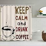 YiiHaanBuy Cortina de Ducha Impermeable,Mantenga la Calma y beba una Cita de café con una Bebida Caliente elaborada Nostalgic Urban Art Print,Cortinas de baño con 12 Ganchos,tamaño 180 x 210cm