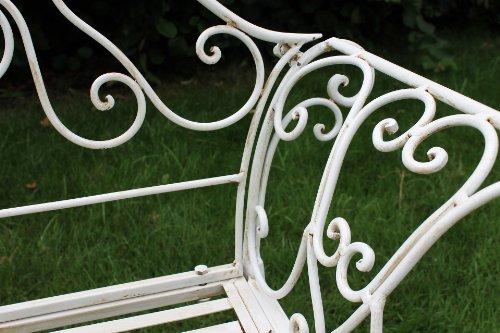 DanDiBo Gartenbank Romance Weiß 111183 Bank 146 cm aus Schmiedeeisen Metall Sitzbank - 4