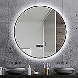 AWJ Espejo, Espejo de Maquillaje, Espejo de baño, Espejo de Escritorio, Espejo LED montado en la Pared con Interruptor de Sensor táctil de Almohadilla antivaho para Borde Negro /
