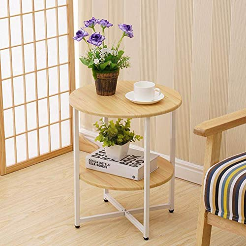 2 Tiers End Table Round Coffee Table Wooden Stand Small Sofa Bedside Telephone Table Storage Unit for Living Room Bedroom (Color : B)