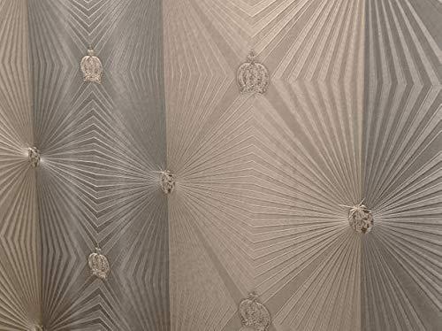 Tapete Bronze Krone Edelstein Diamant Klassisch Kollektion Glööckler Imperial von marburg für Schlafzimmer Wohnzimmer oder Küche Made in Germany 10,05m X 0,70m 54406