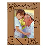KATE POSH Grandpa and Me Engraved Natural Wood Picture Frame, I Love You Grandpa, Grandparent's Day, Best Grandpa Ever, Grandfather Gifts, Grandpa & Me, Father's Day, Christmas (4x6-Vertical)