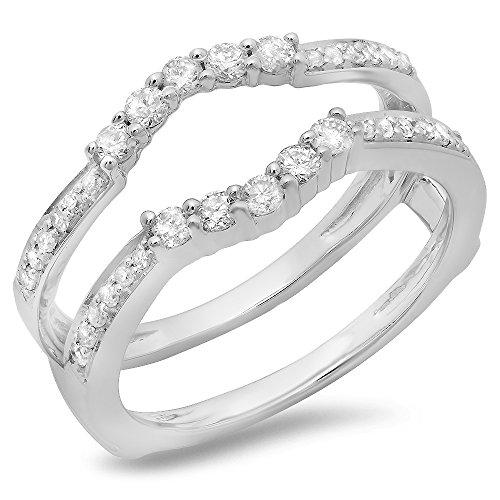 Dazzlingrock Collection 0.50 Carat (ctw) 14K Round Cut Diamond Wedding 5 Stone Enhancer Guard Ring 1/2 CT, White Gold, Size 6