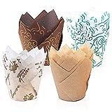 feihao Tulip Pirottini di Carta per Muffin, Carta per Muffin,Cioccolatini Forno Dessert Torta, 4 Stili (200pcs/pack)