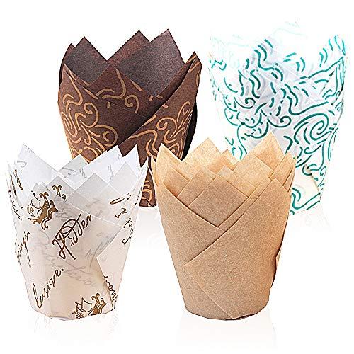 feihao muffinförmchen Papier,200 Stück Papierförmchen in Tulpenform,Backförmchen Zeitung Backbecher Papier Tulpen Backpapier für Kinder Geburtstag Party Hochzeit Kuchen Deko
