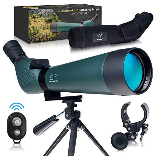 CREATIVE XP ED Spotting Scope with Tripod 20-60x80mm - BAK 4 Prism Spotting Scopes for Target Shooting Hunting Astronomy Bird Watching - 100% Waterproof Shockproof IP67 - Phone Adapter and Clicker
