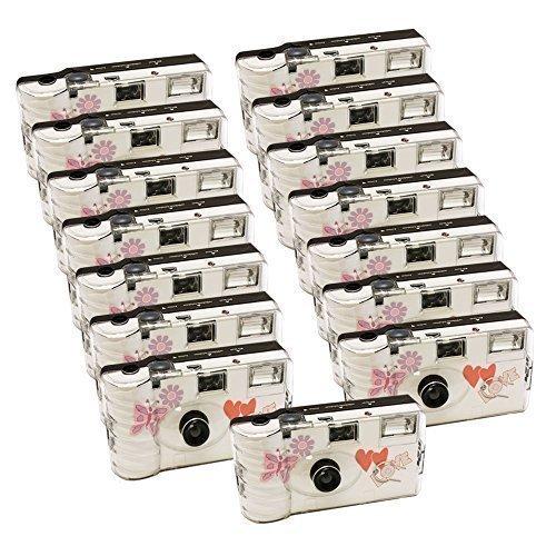 15 macchine fotografiche per nozze di Photo Porst con farfalla / macchina fotografica usa e getta / macchina fotografica per feste (27 foto ciascuna, con flash, confezione da 15)