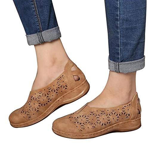 Kunstleder Elastisch Bequem Slip On Damen Aushöhlen Runde Zehe Flache Ferse Flache Plattform Rutschfeste Schuhe
