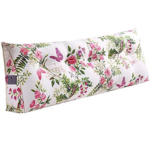 GUOWEI große Rückenlehne Kissen Kissen Bettseite Rückenlehne Polsterkopfteil Dreieckiger Keil Gefüllt Unterstützung Lesung, 4 Farben, 6 Größen Nachttisch (Farbe : Blumen, größe : 120x20x50cm)