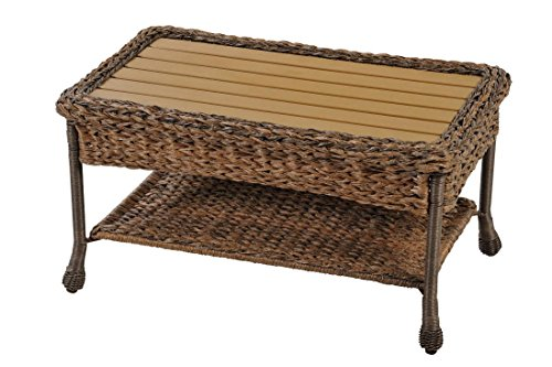 W Unlimited Rustic Collection Outdoor Garden Patio Light Brown Wicker Coffee Table Wood Table Top Aluminum Frame