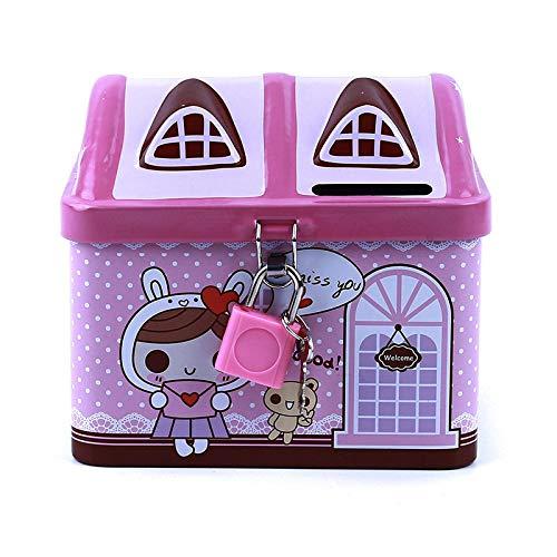Turtle Story Wwwl alcancía Metal casa Forma Hucha Moneda Caja Fuerte Caja de Almacenamiento niño Hucha Llave Bloqueo Caja Caja Creativo niños Azul JXNB (Color : Pink)