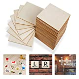 Unfinished Wood Board - 55Pcs 5 x 5in Blank Natural Slices Wood Square for DIY Crafts Painting, Scrabble Tiles, Coasters, Pyrography, Decorations