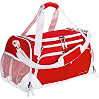 Yixinunique Sports Travel Duffel Bag with Shoes Compartment & Wet Pocket (red)