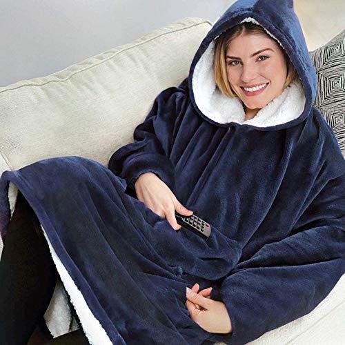 Sherpa Hoodie Sweatshirt Kuscheldecke Ultra Weiche Warme Original TV Decke mit Ärmel und Tasche Baumwolle Fleece Kapuzen Pullover for Erwachsene Männer Damen Teenager, 80 * 120 cm Marineblau