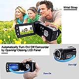 Videokamera Camcorder GDV5162 Wiederaufladbare Digitalkamera FHD 1080P 12MP DV 270° LCD drehbarer Bildschirm, Camcorder für Kinder/Anfänger/ältere Menschen - 3