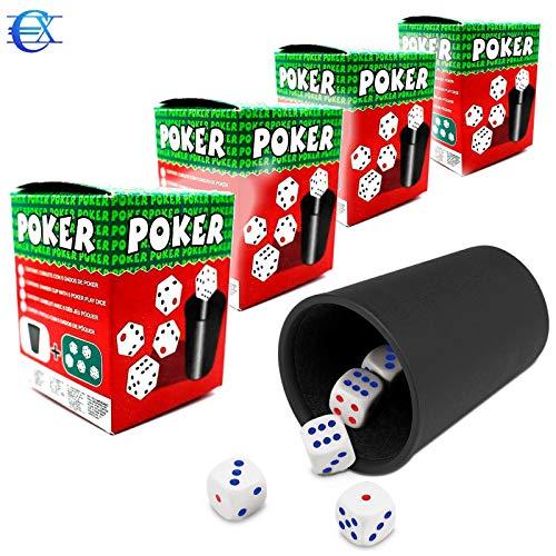 EUROXANTY Cubilete con Dados | 20 Dados y 4 Cubiletes | Juegos de Mesa | Juegos en Familia | Niños | Adultos | Dados de Puntos | Poker | Parchís