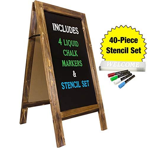 Large Sturdy Handcrafted 40' x 20' Wooden A-Frame Chalkboard Display / 4 Liquid Chalk Markers & Stencil Set/Sidewalk Chalkboard Sign Sandwich Board/Chalk Board Standing Sign (Rustic)