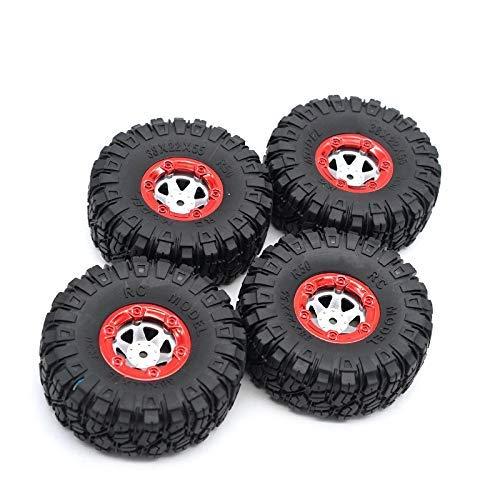 YNSHOU Accesorios de Juguete Neumáticos Grandes de actualización de 4 Piezas para 12428/12423 Feiyue 01/02/03/04/05 Q39 Q40 Q46 RC Car Parts Rojo + Negro