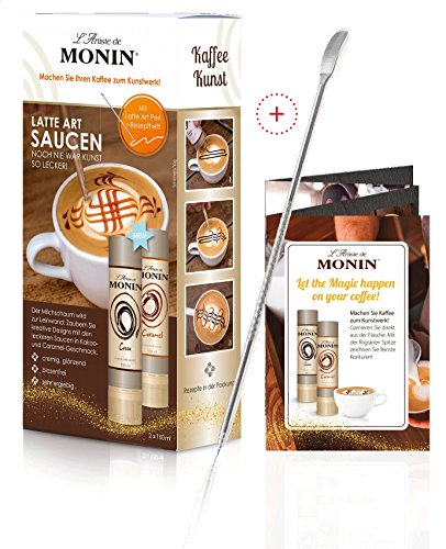 Monin L'Artiste Latte Art Saucen Set 2×150 ml + Latte Art Pen + Rezeptheft (1 x 150ml Monin Cacao, 1 x 150ml Monin Caramel)