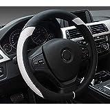 [新しいドレス] 車用ハンドルカバー ステアリングカバー オシャレ グリップ感抜群 軽 自動車 (黒、白)