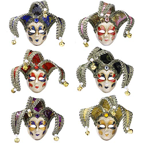 YU FENG Mini Masquerade Mask 6pcs Set Small Mardi Gras Halloween Party Costume Accessory(9)