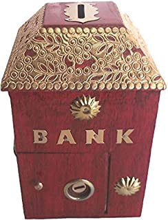 Shilpi Wooden Hut Shape Money Bank/Coin Bank/Gulak