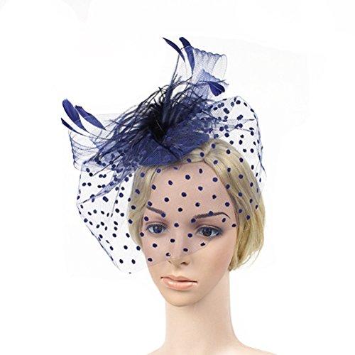 VORCOOL Fascinator Haarspange Hut Retro Mesh Gesicht Schleier Feder Pillbox Fascinator (Blau)