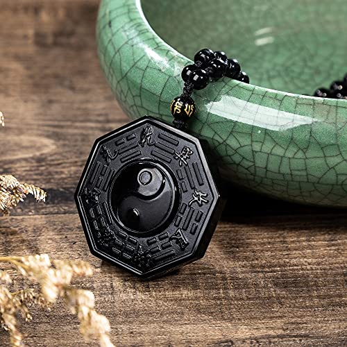 JIUXIAO Ying Yang Bagua Collar con Colgante de obsidiana Piedras Cadenas anudadas con Cuentas Ajustables